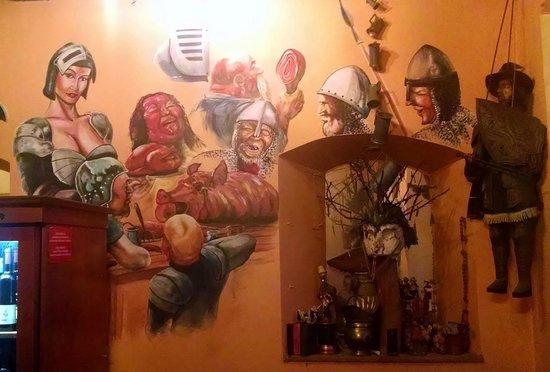 Staroslovenska Krcma: Wall mural in the entrance
