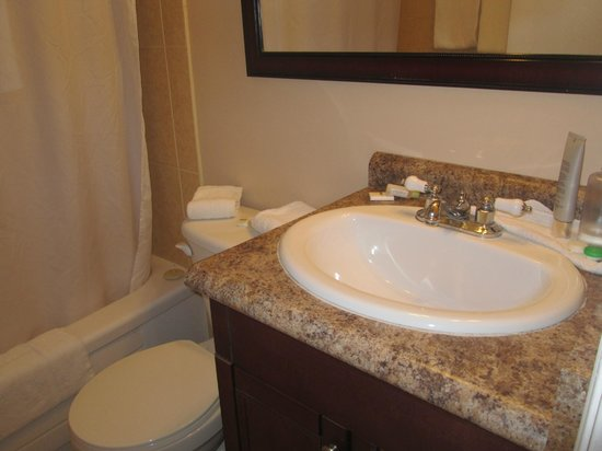 London Executive Suites Hotel: no counter space in bathroom