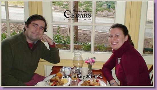 Cedars of Williamsburg Bed & Breakfast: At Breakfast