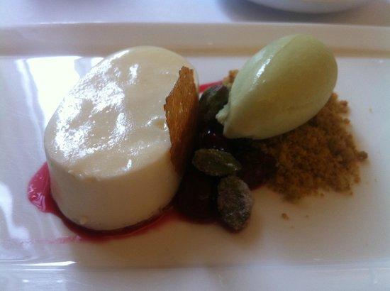 Boulud Sud : Lemon mousse, cherry compote, pistacchio sorbet