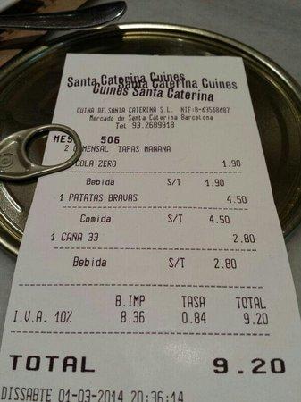 Cuines Santa Caterina : Cuenta