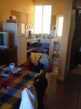 Bungalows El Delfin: Kitchen with window/door to back patio.  Main floor room.