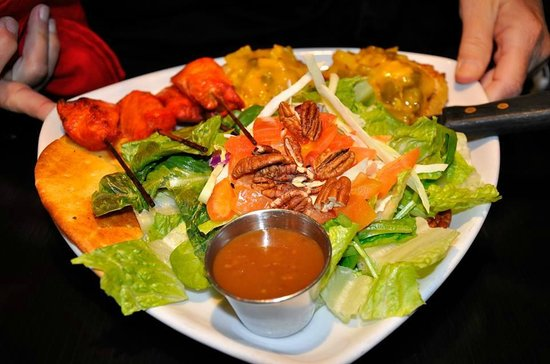 Thandi: Quinoa Seafood Cakes with Mango Salsa; salad; and a side of Chicken Satays