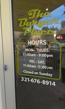 The Burger Place: Store Hours