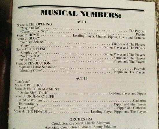 Pippin The Musical: Musical numbers