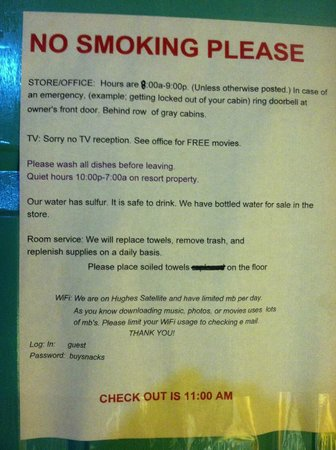 Crater Lake Resort: This was posted on the door of our cabin