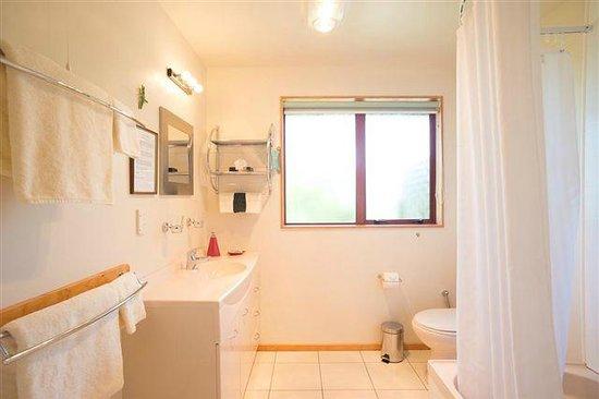 Abel Tasman Ocean View Chalets : Premium chalet bathroom
