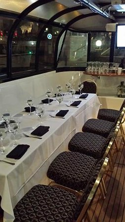 Woodlands Waterway Trolley: Inside the boat, showing the dining- style seating