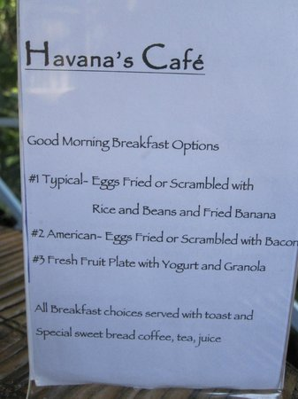 Hotel Plaza Yara: Breakfast menu