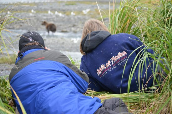 Spirit of Alaska Wilderness Adventures Lodge: Laying on the beach watching bears.