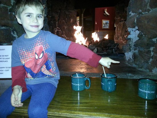 Heidelberg Inn: Warming by the fireplace with hot chocolate