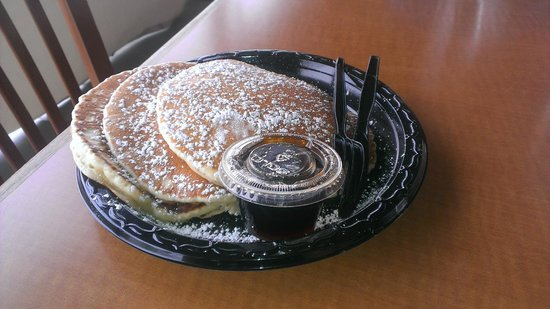"""River's Edge Cantina: """"River Disks"""" 3 pancakes & syrup breakfast special"""