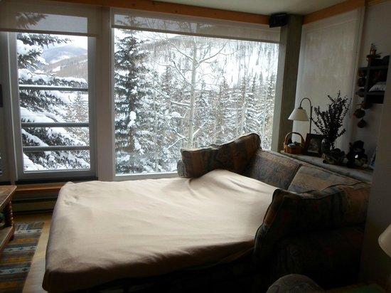 Simba Run Vail Condominiums : Sofa cama del living