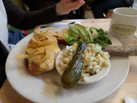 Mother's Bistro & Bar : Benny's Chicken Sandwich with pasta salad