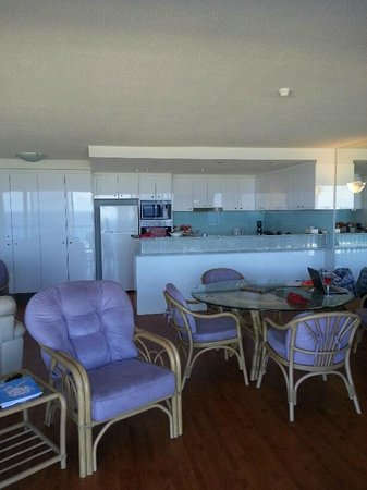 The Rocks Resort: Spacious living area and new kitchen for this particular apartment.