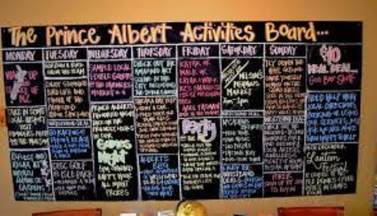 The Prince Albert Backpackers: Activities board