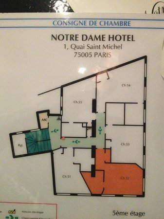 Hotel le Notre Dame: layout for floors 2-5, rooms ending with 2 are corner rooms facing Notre Dame