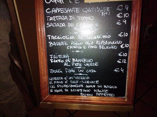 Marghera, Włochy: il menu (ve lo portano al tavolo...)