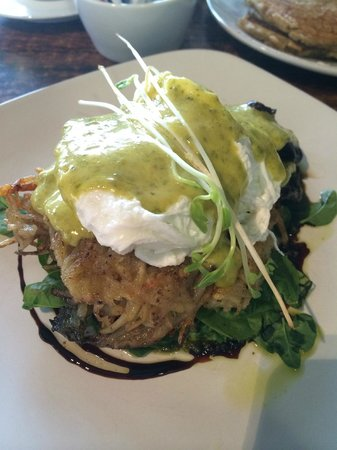 Cafe Lago : Potato hash cakes with poached eggs