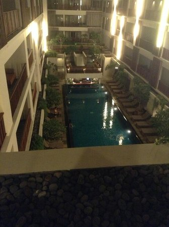 The Magani Hotel and Spa: View from balcony of deluxe suite overlooking pool