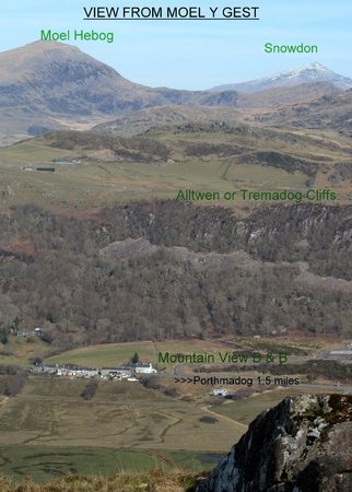 Mountain View B & B: View from Moel y Gest to Snowdon