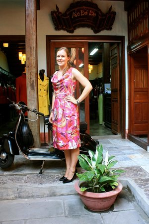 Aobaba Tailor: Crepe silk summer dress made after picture from internet