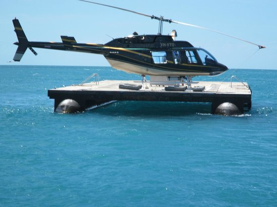 Hamilton Island Air: Helicopter waiting to take us back from reef