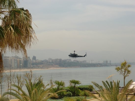 Movenpick Hotel Beirut: Some military excerices here seen from hotel room