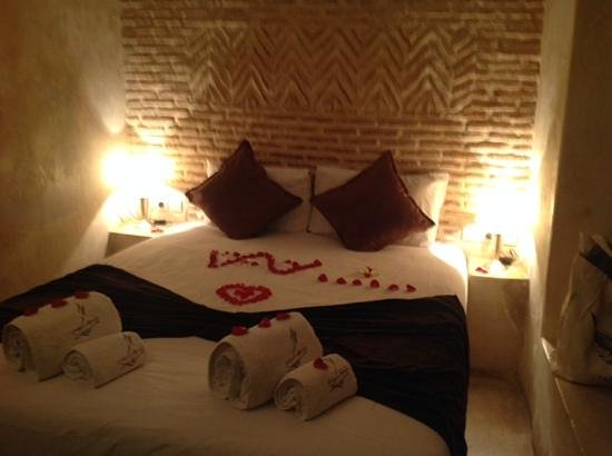 Riad Bamboo : bed on arrival