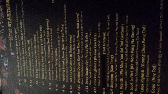 Smiling BKK: menu