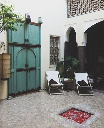 Riad Abracadabra: Door to Madame Mim, and part of the lounge area