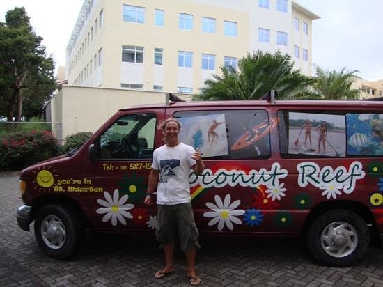 Coconut Reef Power Boat Tours & Charters: The cheery beater van that picks you up.