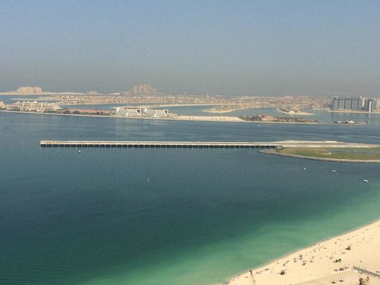 Hilton Dubai The Walk: Executive lounge on floor 35 view towards Palm Island