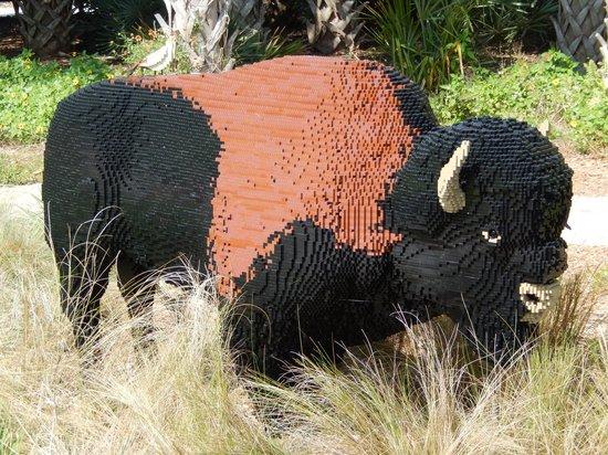 Naples Botanical Garden: Life-size bison Lego sculpture