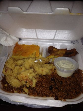 Twin Brothers Restaurant : Fried Conch,Rice and peas, plantain, macaroni pie . Yummy!