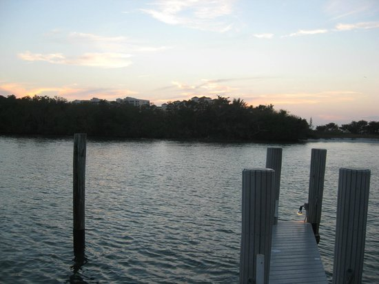The Boat House Motel: Sunset off the deck