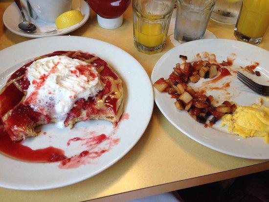 Wild Eggs: Raspberry and Lemon pancakes, halfway trough enjoying