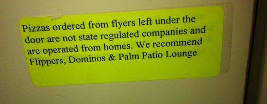 Clarion Inn & Suites At International Drive: Warning sticker on door