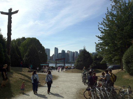Cycle City Tours and Bike Rentals: Utsikt mot Vancouver sentrum fra Stanley Park