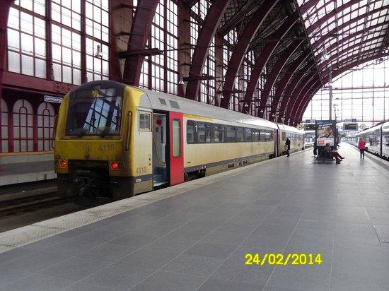Bahnhof Antwerpen-Centraal: a train at the upper level