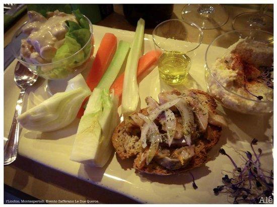 I'Licchio: piatto degustazione olio nuovo, verdure locali e zafferano