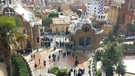 Parc Güell : View from top of waterfall