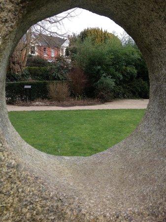 Alexandra Park: Aspect of the peace garden. A sculpture.
