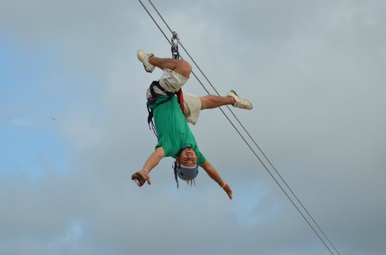 Clip N  Zip Canopy Tours: Our guide Marlon, showing off!