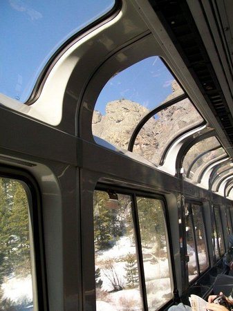 California Zephyr : Inside the observation car as we traveled through the Rocky Mountains.