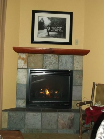 Bearskin Lodge on the River Hotel: Loved the fireplace