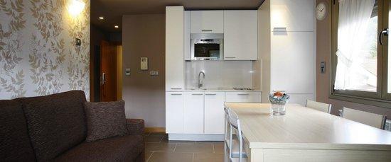 Apartamentos Spa Cueto : Cocinas totalmente equipadas ( nevera, lavadora, vitroceramica, microondas y menaje de cocina )