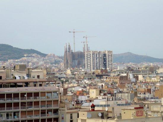H10 Montcada Boutique Hotel: La Sagrada Familia from our Window (zoomed in a bit)