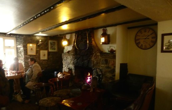 Snug with wood burning fire at the Crooked Inn, Cornwall