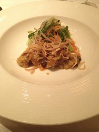Chez Bruce: Ox cheek Indian marinated with Asian salad...